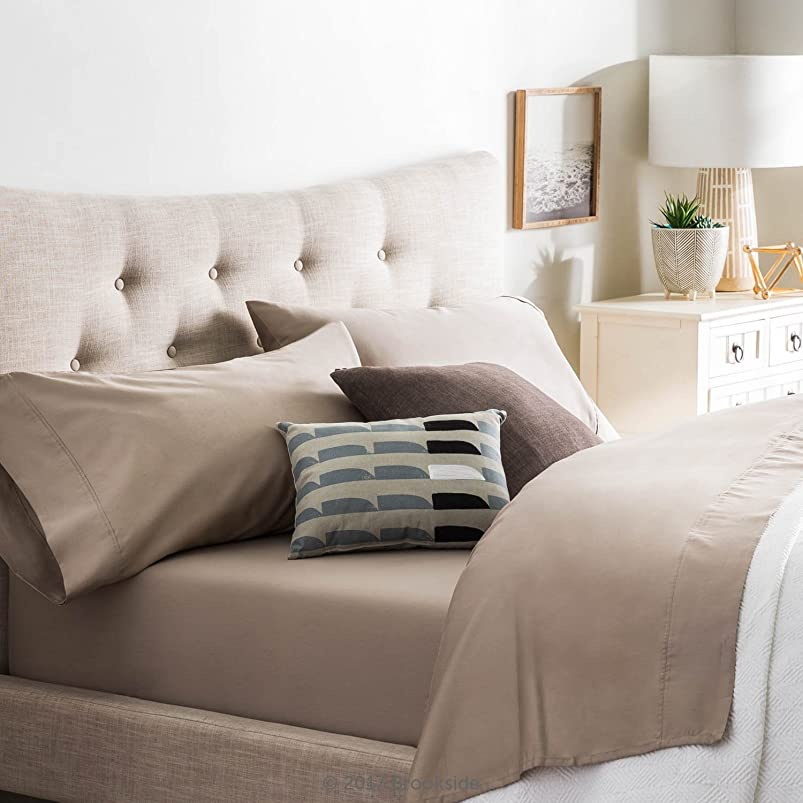 Brookside Blend Sheet Set-Wrinkle Resistant-Rich Cotton Look and Feel-Easy Care Fabric-Deep Pocket Design-Queen-Sandstone dmnqodle290158