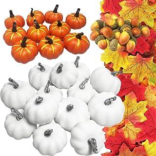 JOLLY SWEETS 194pcs Halloween Mini Artificial Pumpkins Decorations Set, Pumpkins, Acorns, Maple Leaves, Harvest Fruit Set ...