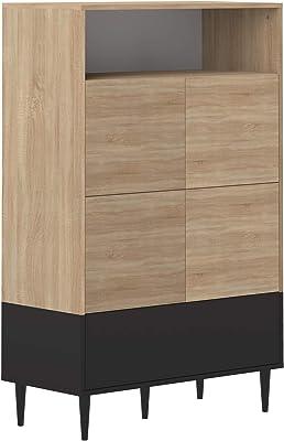 Temahome Buffet Haut, Panneaux de Particules Melamines, Chêne Naturel, 90 X 140,6 X 40 Cm