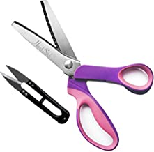 Dressmaking Pinking Shears with Snipper- Zig-Zag Scissor - Fabric Scissors - Professional and Heavy Duty Stainless Steel Sewing Scissors for Embroidery, Tailoring, Paper, Crafts (Pink)
