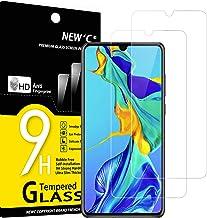 NEW'C Lot de 2, Verre Trempé Compatible avec Huawei P30, Film Protection écran sans Bulles d'air Ultra Résistant (0,33mm HD Ultra Transparent) Dureté 9H Glass