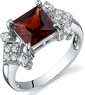 Garnet Princess Cut Ring Sterling Silver Rhodium Nickel Finish 2.00 Carats Sizes 5 to 9