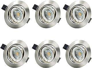 Lámpara LED empotrable inteligente, regulable, incluye 6 módulos LED de 6 W, bombilla de 500 lm, foco empotrable orientable, blanco neutro