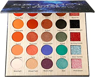 DE'LANCI 25 Colors Nocturne Warm Orange Eyeshadow Palette Long Lasting Nude Earth Tone Shimmer Matte Pressed Glitter Eye Shadow Makeup Pallet