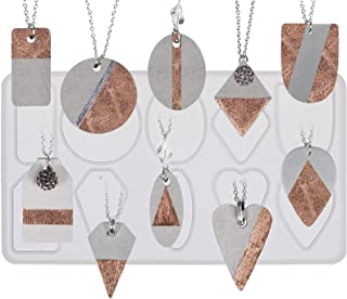 FUNSHOWCASE Geometry Pendant Jewelry Casting Epoxy Silicone Mold with Holes for Concrete Plaster Polymer Clay, 10-Cavity