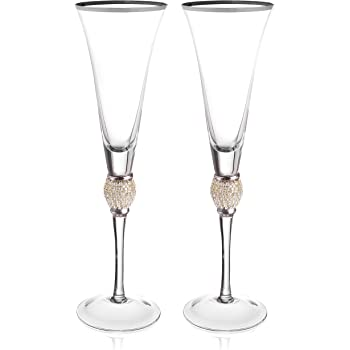 Lismore Diamond Toasting Champagne Flute Glass Waterford PartialUpdate Set of 2
