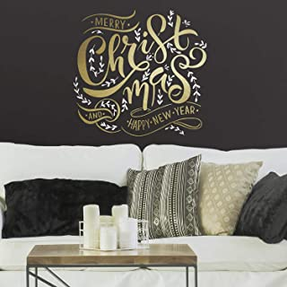 RoomMates Merry Christmas Quote Peel and Stick Giant Wall Decals with Metallic Ink