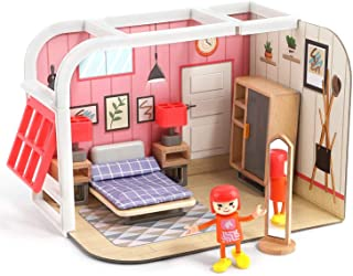 Mumoo Bear Pretend Play Toy House for Little Girls 3 Yrs, Mini Doll House Toy Playset with Furniture and Accessories - Dre...