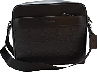 CHARLES CAMERA BAG IN SIGNATURE LEATHER, F28455, BLACK