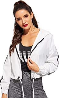 Women's Casual Long Sleeve Zip Up Lightweight Outwear Bomber Hooded Jacket
