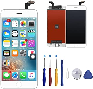ukuu LCD Touch Screen for iPhone 6 Plus,Complete Frame Assembly Set Touch Screen Replacement + Repair Tools, White Color