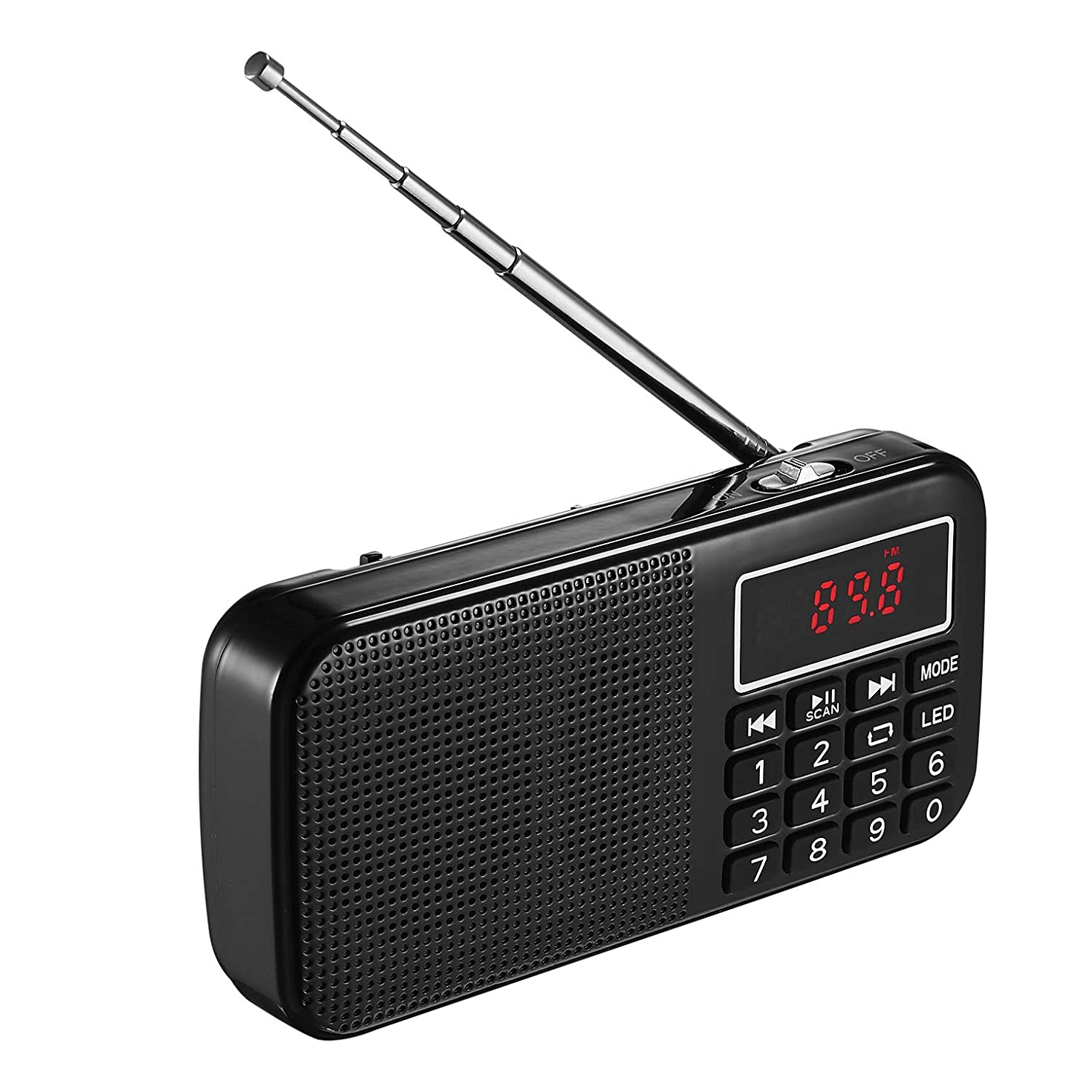 Portable FM Radio by PicoHemmo, Personal Mini Shortwave Pocket Radio Music Player, Supports AUX, 2Micro SD/TF Card Slot and USB Disk, with 3000mAh Rechargeable Li-ion Battery, Earphone Jack(Black)