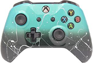 Hand Airbrushed Fade Xbox One Custom Controller Compatible with Xbox One (Teal & Black Fade W/Silver Splatter)
