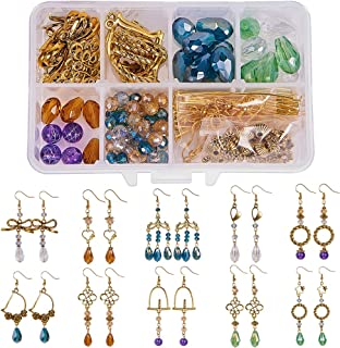 SUNNYCLUE 1 Box DIY Make 10 Pairs Chandelier Earrings Jewelry Making Starter Kit Include Chandelier Connector Charm Pendants, Glass Beads, Earring Hooks and Jewelry Findings, Antique Golden
