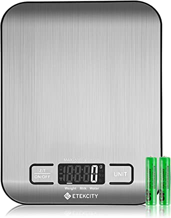 Etekcity Food Digital Kitchen Weight Scale Grams and Oz, Backlit, Stainless Steel(2019 Upgraded)