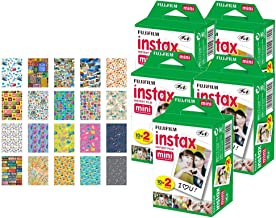 5X Fujifilm instax Mini Instant Film (100 Exposures) + 20 Sticker Frames for Fuji Instax Prints Travel Package
