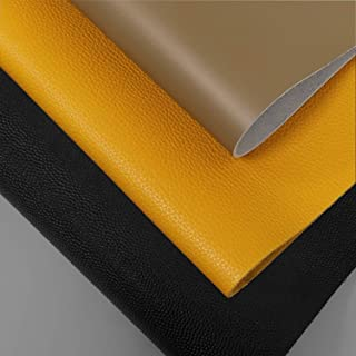 """INCIRCLE Leather – Real Cow Skins, Sizes 1 Square FEET Grade """"A"""" for All Patch, Crafts & Arts (Mustard Yellow)"""