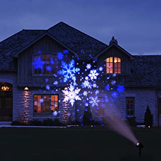 EAMBRITE Christmas Projector Lights LED White/Blue Rotating Snowflake Snowstorm Projector Light with Snowfall for Birthday Wedding Theme Party Garden Home Winter Outdoor Indoor Decor