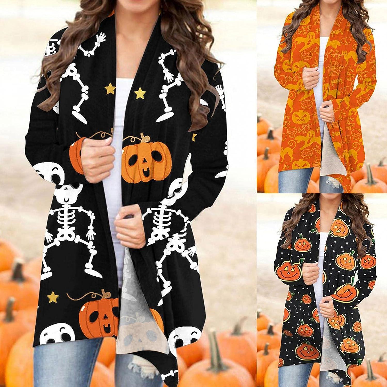 Gibobby Halloween Cardigan Sweaters for Women,Women's Pumpkin Cat Skull Printed Long Sleeve Open Front Loose Fit Coats