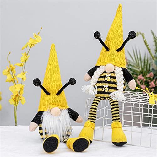 Pack of 2 Honey Bee Gnome Plush Decor Scandinavian Tomte Dwarf Swedish Figurines Bee Gnome Plush Toy Home Farmhouse Kitchen Decor Bee Party Gift Birthday Present Tiered Tray Decoration Ornaments