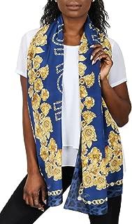 Roberto Cavalli C3802C880 307 Blue Chain Scarf for womens