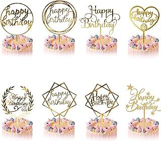 8 Style Happy Birthday Cake Topper, Or Gâteau Décoration d'anniversaire pour Enfants Filles Garçons Femmes Homme, Acryliqu...