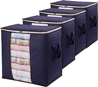 4 Pack Clothes Storage Bag,Aminery Organizer with Reinforced Handle Thick Fabric for Comforters, Blankets, Bedding, Foldab...