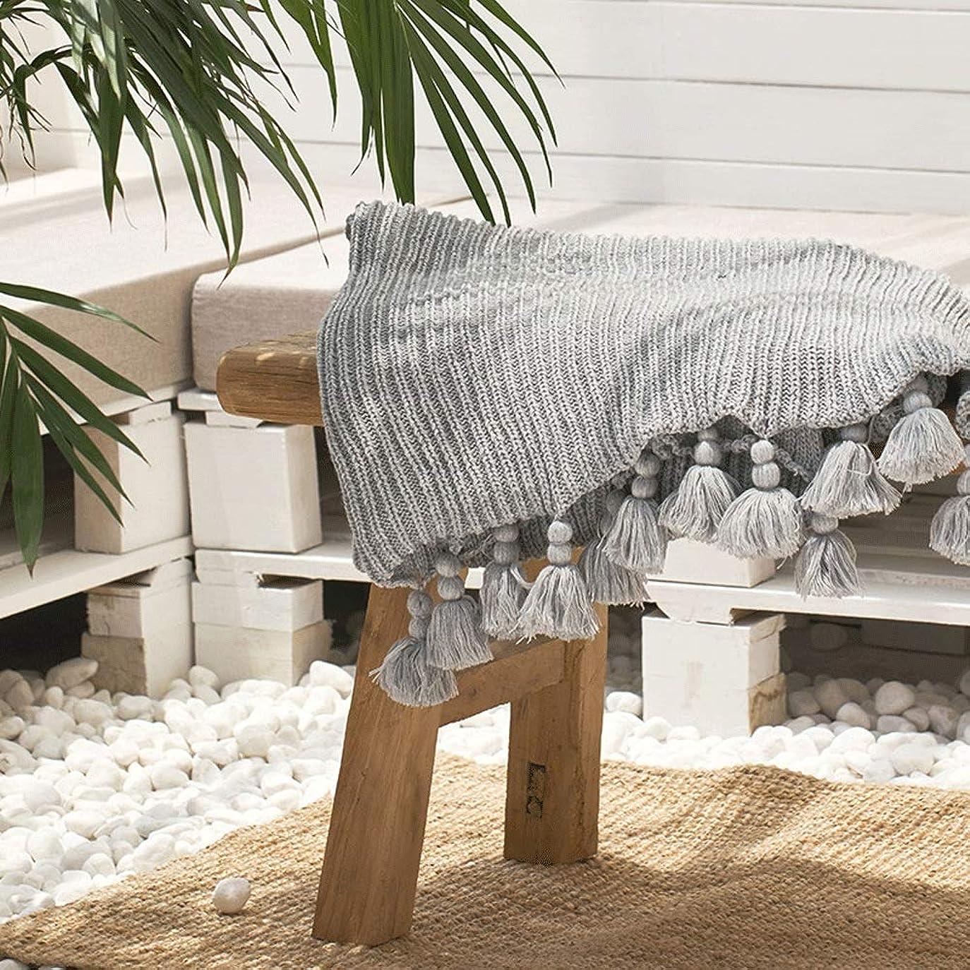 気づくまもなく教会多機能 ソファー ブランケット ソファのためのニットフリンジ軽量投球毛布ベッドビーチ旅行オールシーズン大人のためのニット投球毛布 (Color : Gray, Size : 130cmx160cm)