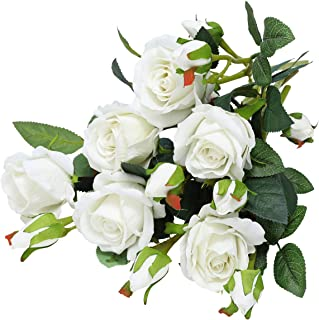 Hawesome Artificial Flowers Fake Roses Look Real for DIY Bouquets Centerpieces Arrangements Home Decoration Wedding Party Total 18PCS Flowers with 6 Stems(White)