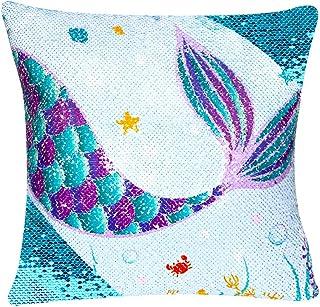 WERNNSAI Fundas de Almohada de Sirena de Lentejuelas - 40 x 40cm Juego de 2 Fundas de Cojín Azul Throw Pillow Case con Cremallera para Sofá Silla Cama Coche (SIN Insertos de Almohada)
