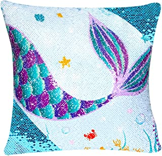 WERNNSAI Sequins Mermaid Pillow Cases - 16 x 16 Inch Set of 4 Blue Mermaid Decorative Cushion Covers Birthday Xmas Gift Throw Pillow Covers for Sofa Chair Bed Car(NO Pillow Inserts)