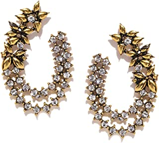 3ca8139f7 Zaveri Pearls Antique Gold Tone Floral Design Stud Earring For Women -  ZPFK8055