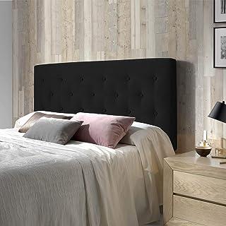 marckonfort Cabecero tapizado Oslo 150X100, capitone en Tela Antracita, Grosor de 8 cm