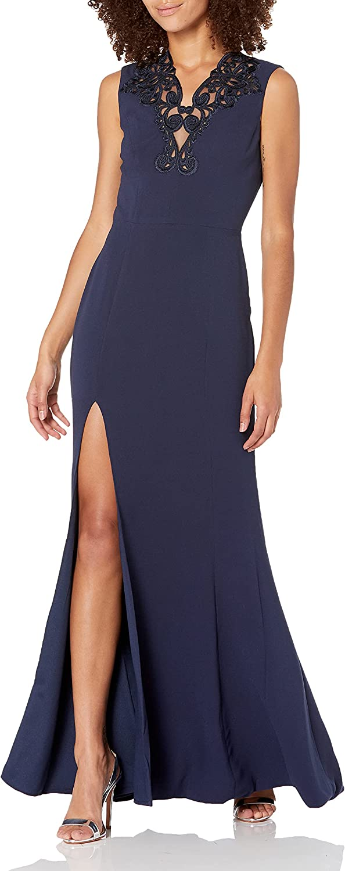 Dress the Population Women's Cassandra Lace Detail Stretch Sleeveless Gown Dress, Midnight Blue, S