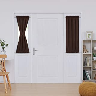 Deconovo Door Curtain Decoration Rod Pocket Door Panel Curtain Thermal Insulated Curtains 25x40 Inch Chocolate 1 Panel