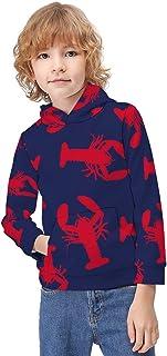 Kid's Novelty Sweater Red Lobster Pullover Hoody Sweatshirt Teen's Breathable Sports Hoodies-