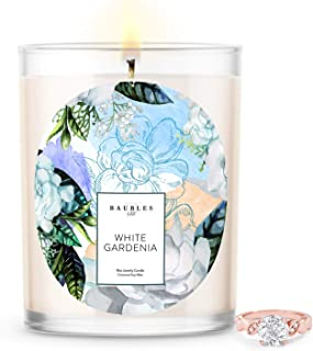 Kate Bissett Baubles White Gardenia Scented Premium Candle and Jewelry with Surprise Ring Inside   18 oz Large Candle   Made in USA   Parrafin Free   Size 09