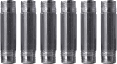 """Pipe Decor 1"""" x 6"""" Malleable Cast Iron Pipe, Pre Cut Connector, Industrial Steel Grey Fits Standard One Inch Black Threaded Pipes Nipples and Fittings, Build Vintage DIY Furniture, One Inch, 6 Pack"""