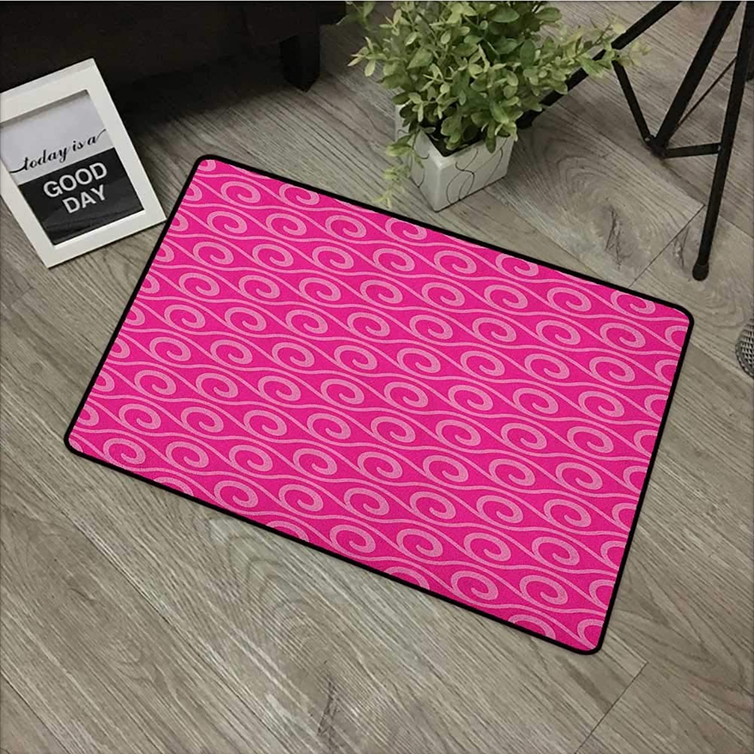 Bedroom Door mat W35 x L59 INCH Hot Pink,Ocean Waves Inspired Abstract Fantasy Pattern with Horizontal Curves and Lines, Pink Pale Pink Non-Slip Door Mat Carpet