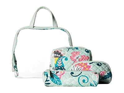 Vera Bradley Iconic Four-Piece Cosmetic Set (Mint Flowers) Cosmetic Case