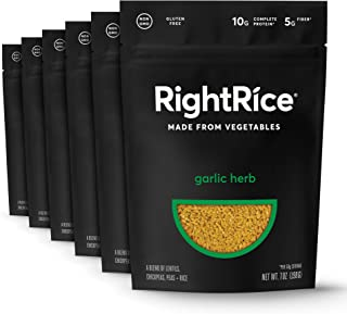 RightRice - Garlic Herb (7oz. Pack of 6) - Made from Vegetables - High Protein, Vegan, non GMO, Gluten Free