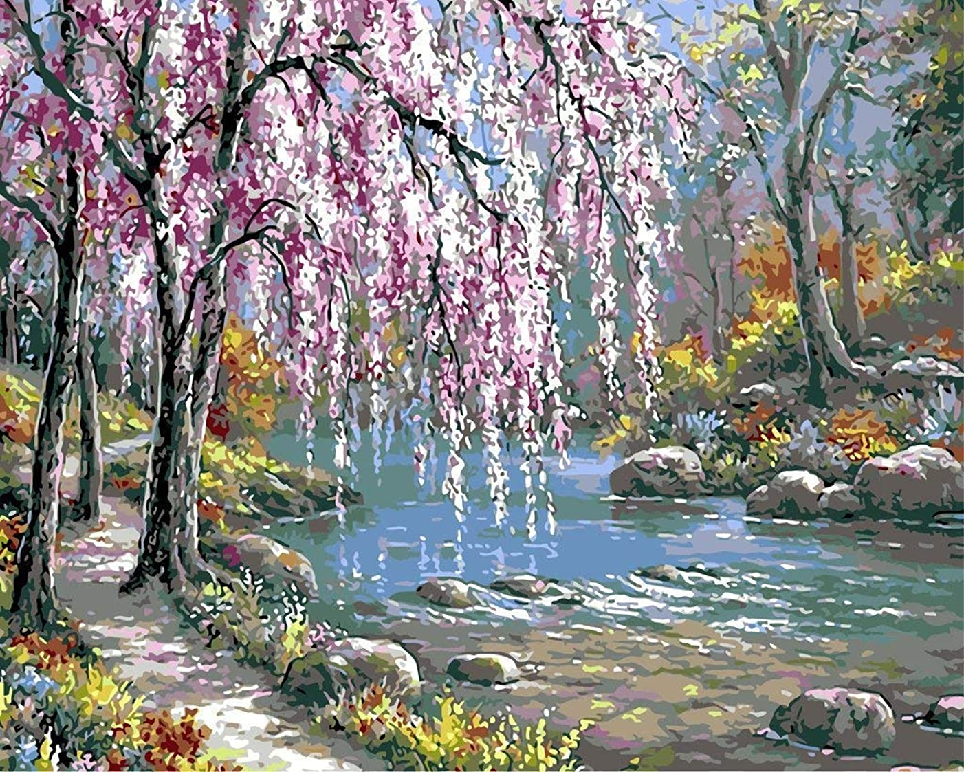 YEESAM ART DIY Paint by Numbers for Adults Beginner Kids, Willow Tree River 16x20 inch Linen Canvas Acrylic Stress Less Number Painting Gifts