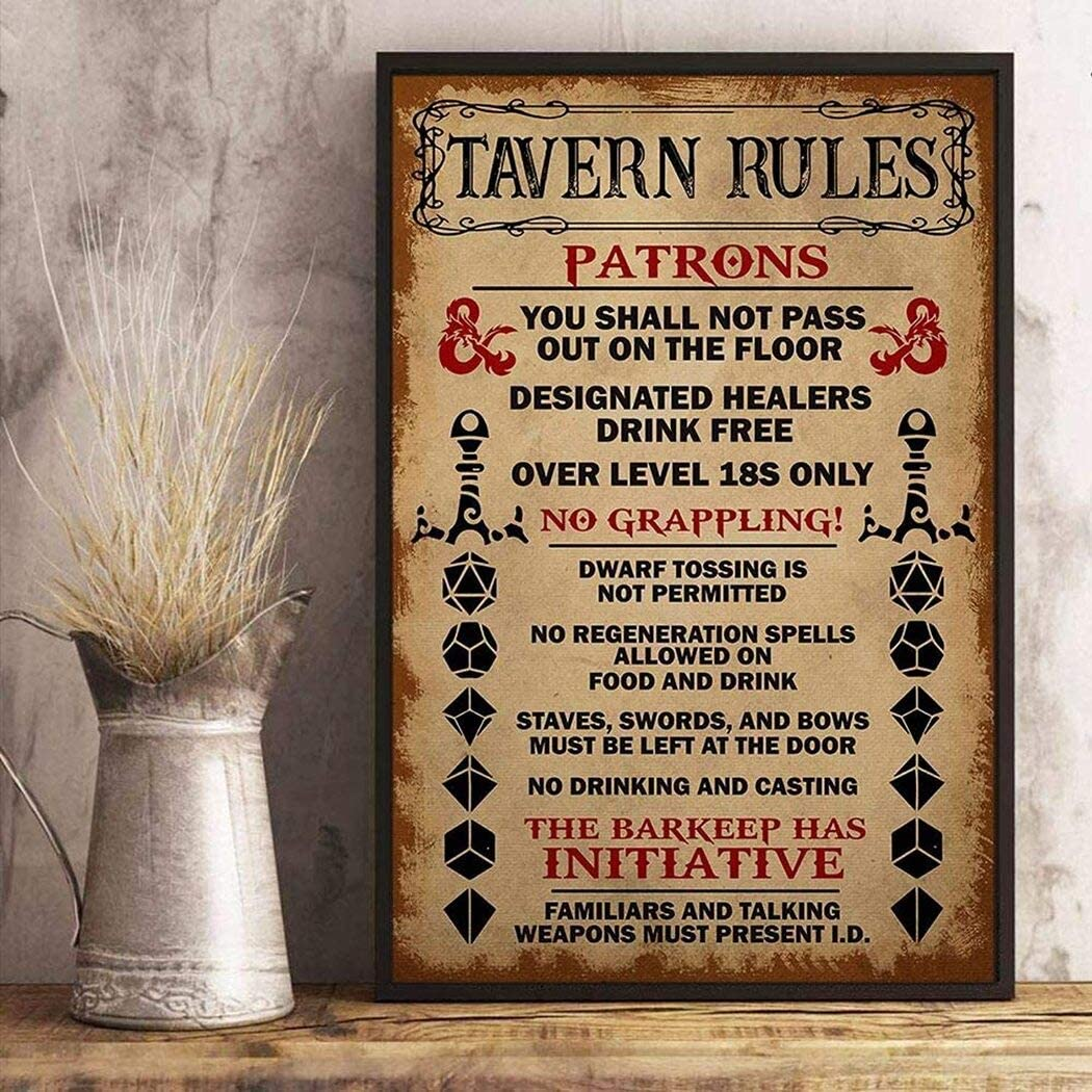 Tavern Rules Patrons Canvas Dungeon RPG DND Tabletop Dragons Dice Games Gaming Wall Art Canvas 0.75 Inch, Home Decor (Size 8x12, 12x18, 16x24, 24x36 Inches)