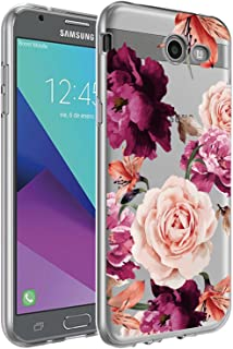BAISRKE Galaxy J7 V Case,Galaxy J7 Prime Case, Slim Shockproof Clear Floral Pattern Soft Flexible TPU Back Cove for Galaxy J7 V / J7 2017 / J7 Prime / J7 Perx / J7 Sky Pro/Galaxy Halo [Purple]