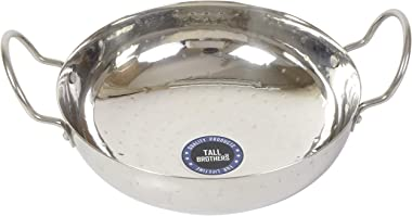 TALL BROTHERS (1.2 Litre Small) KADHAI Stainless Steel Thick & Heavy 16 Gauge Traditional Hammered Design Kadhai / Tasla