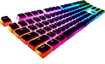 108 Double Shot PBT Keycaps Ansi/ISO - OEM Profile Pudding Keyset for Backlit Mechanical Gaming Keyboard (Black Top)