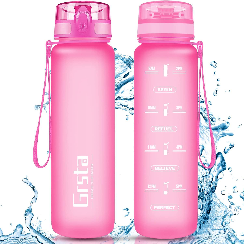 Grsta Botella Agua - Botella de Agua Deportes 350ml/500ml/800ml/1L/1.5L Botella Deportiva Tritan de Plástico Sin BPA con Filtro & Marcador de Tiempo para Niños y Adultos, Hogar y Exterior