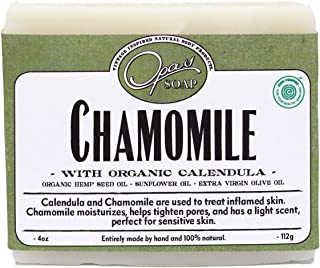 Chamomile Soap for Sensitive Skin, 100% Natural UNSCENTED Bar soap, Made with Organic Hemp Seed, Organic Calendula, for Kids and Adults, Very MOISTURIZING