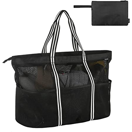 GAGAKU Extra Große Reisetasche Strandtasche Faltbare Handtaschen Netztasche für den Sommer Strand Shopping - Schwarz