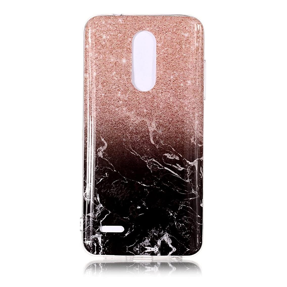 LG K10 2018 Case, LG K30 Case, Love Sound Ultra Slim Colourful Marble Design Anti-Scratch Flexible Soft TPU Rubber Shockproof Protective Phone Case Cover for LG K10 (2018) / LG K30 (Rose Gold/Black)